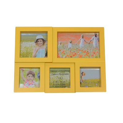 "Northlight 11.5"" Yellow Multi-Sized Puzzled Collage Photo Picture Frame Wall Decoration"