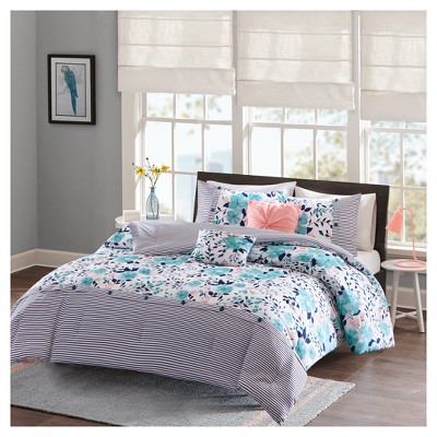 Blue Brie Floral Printed Reversible Comforter Set (Full/Queen)5pc