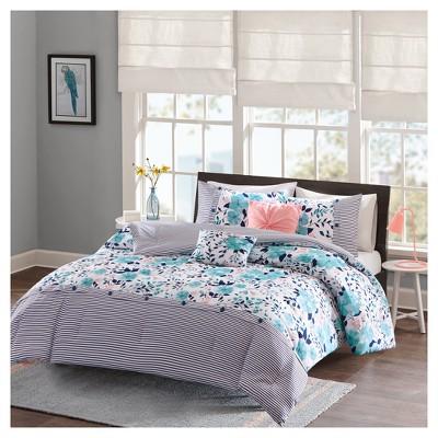Blue Brie Floral Printed Reversible Comforter Set