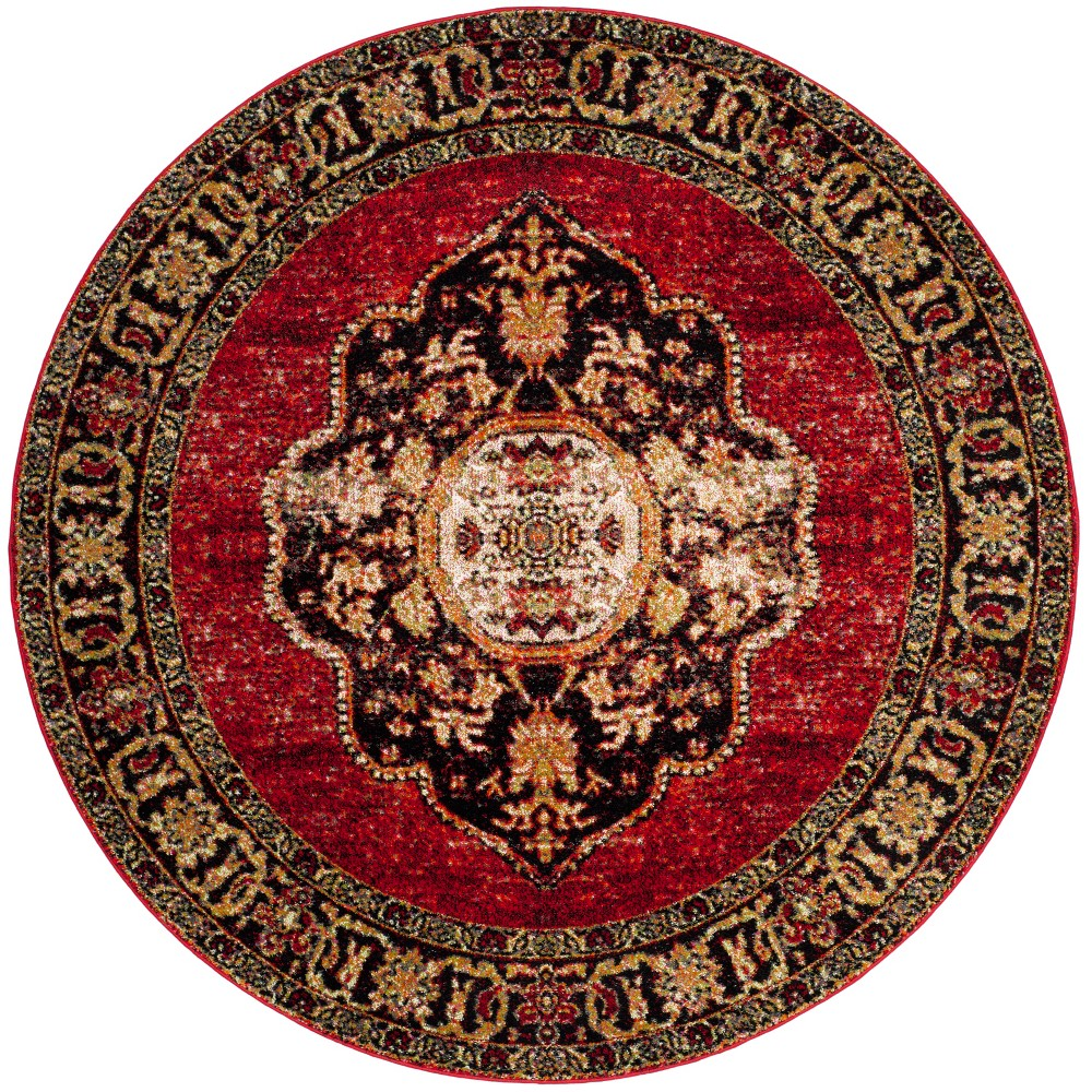 5'3 Medallion Loomed Round Area Rug Red - Safavieh, Red/Multi-Colored