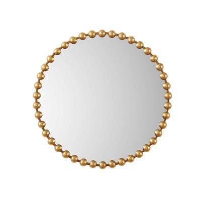 "36"" Dia Marlowe Round Decorative Wall Mirror Gold"