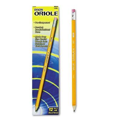 Dixon Oriole Woodcase Presharpened Pencil HB #2 Yellow Dozen 12886