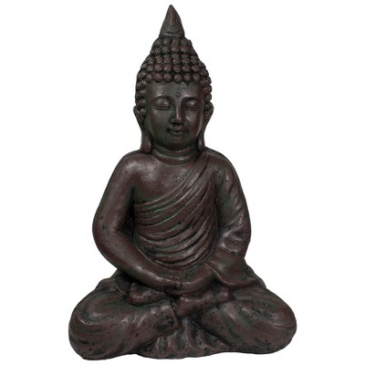 "Northlight 17.5"" Dark Brown Meditating Buddha Outdoor Garden Statue"
