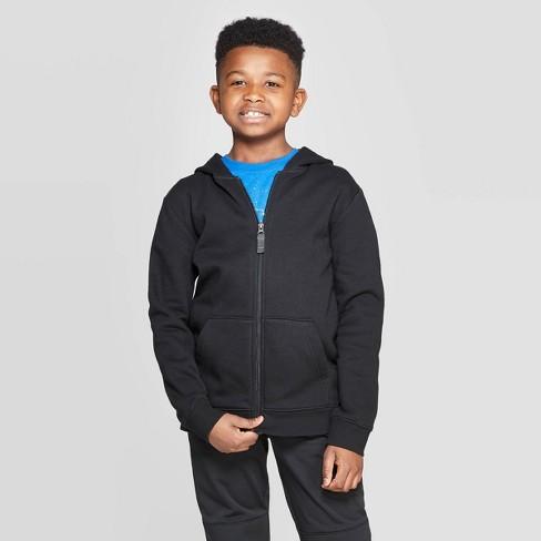 Boys' Fleece Hooded Sweatshirt - Cat & Jack™ Black - image 1 of 3