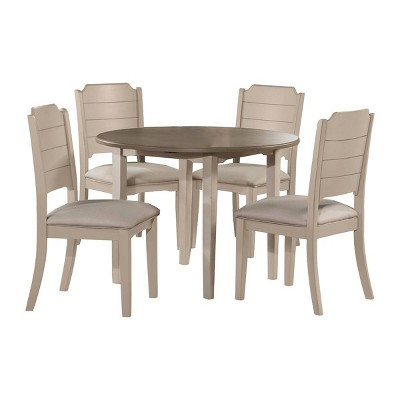 5pc Clarion Round Drop Leaf Table Dining Sets with Side Chairs Gray Fog Fabric - Hillsdale Furniture