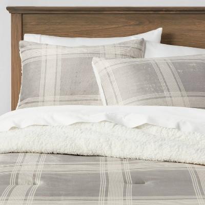 Sherpa & Plush Reversible Plaid Comforter & Sham Set - Threshold&#153
