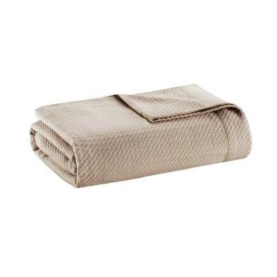 Full/Queen Textured Cotton Blanket Khaki