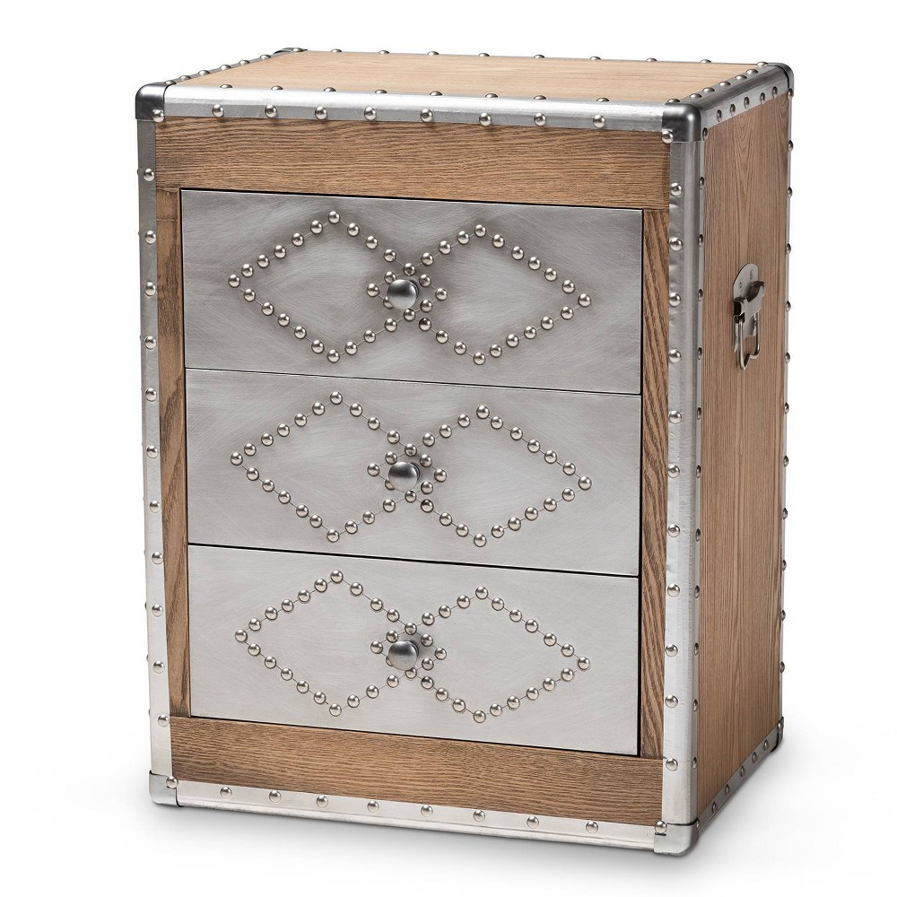 Image of 3 Drawer Audric Wood & Metal Accent Chest Sliver - Baxton Studio