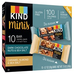 KIND® minis - Dark Chocolate Nuts & Sea Salt and Caramel Almond & Sea Salt - 10ct