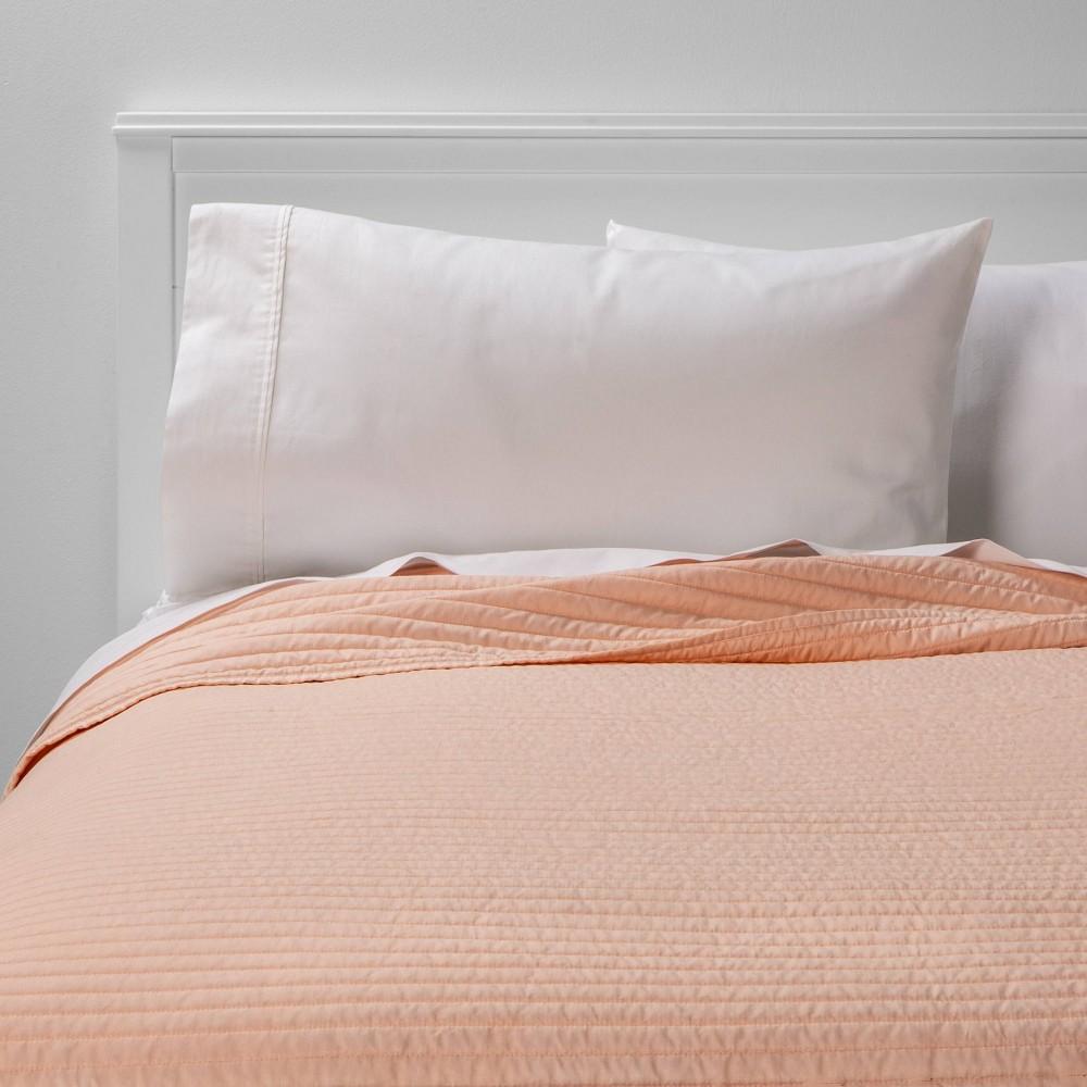 King Garment Washed Microfiber Quilt Blush - Room Essentials