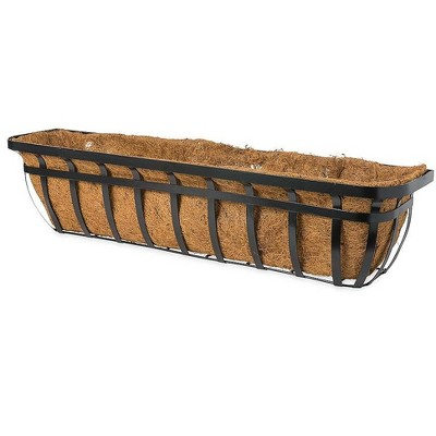 Plow & Hearth - English Hay Basket Window Planter with Coco Liner & Brackets