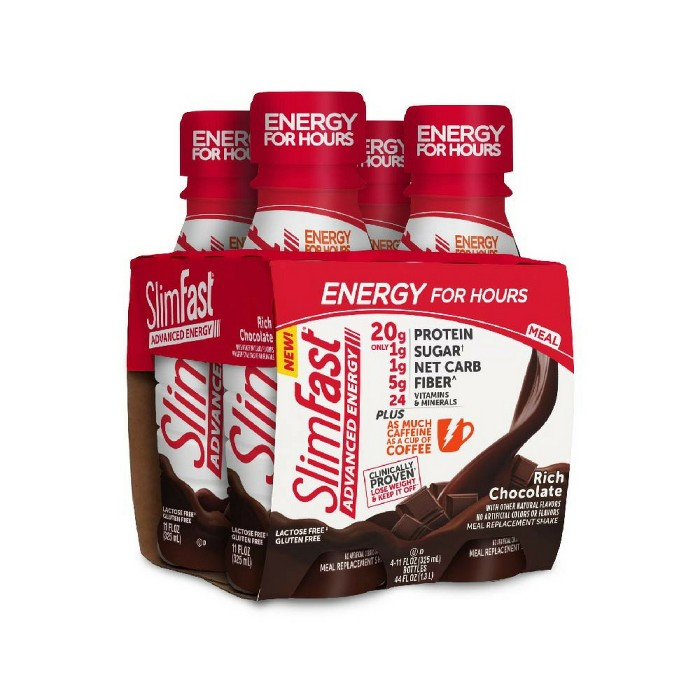 SlimFast Advanced Energy High Protein Meal Replacement Shakes - Rich Chocolate - 11oz/4pk - image 1 of 1