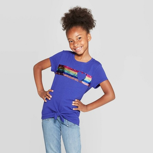 Girls' Short Sleeve Flip Sequin Heart T-Shirt - Cat & Jack™ Blue - image 1 of 4