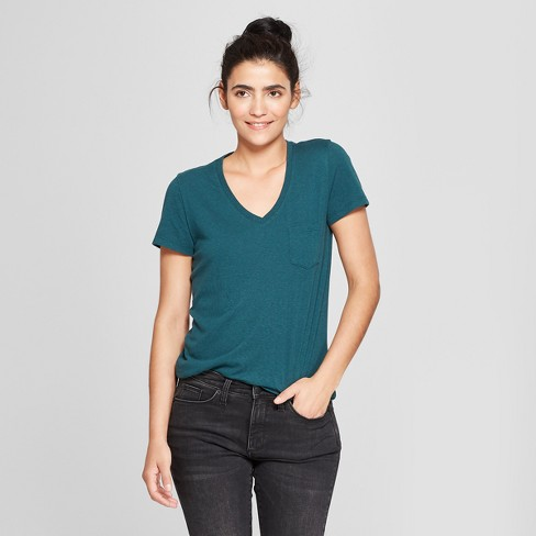 69f2330a2a48ce Women's Monterey Pocket V-Neck Relaxed Fit Short Sleeve T-Shirt - Universal  Thread™ Teal S : Target