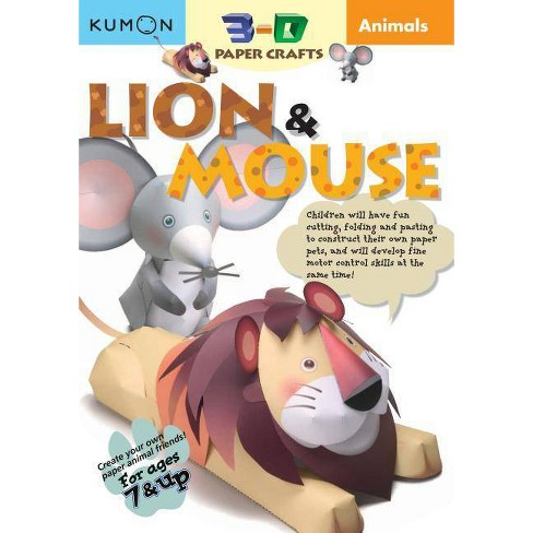 Animals Lion & Mouse - (Kumon 3-D Paper Crafts) (Paperback) - image 1 of 1