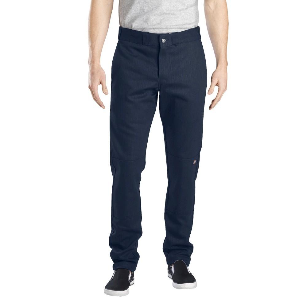 Dickies Men's Skinny Straight Fit Flex Twill Double Knee Pants- Dark Navy 36x34