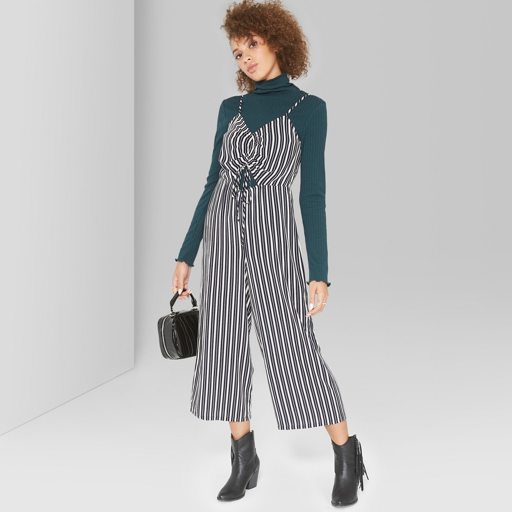 Women's Striped Strappy Cinched Front Wide Leg Jumpsuit - Wild Fable Navy (Blue) L