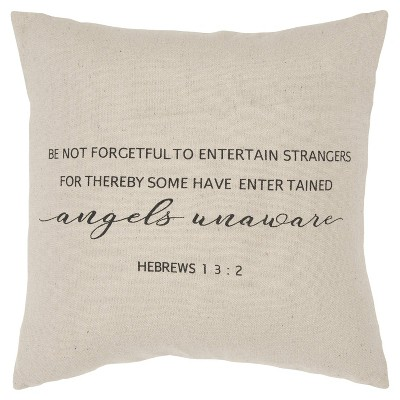 """20""""x20"""" Quote Polyester Filled Pillow Natural - Rizzy Home"""