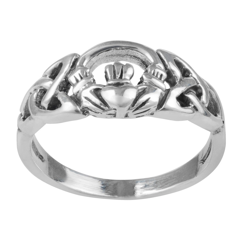 Women's Journee Collection Celtic Claddagh Design Ring in Sterling Silver - Silver, 9