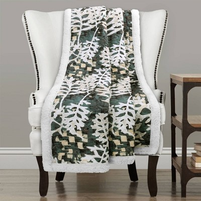 """Lush Décor 50""""x60"""" Camoflage Leaves Sherpa Throw Blanket Green"""