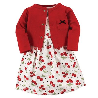 Hudson Baby Infant and Toddler Girl Cotton Dress and Cardigan 2pc Set, Cherries