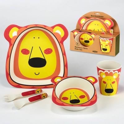 5pc Bamboo Kids Lion Dinnerware Set Yellow - Certified International