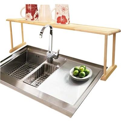 Home Basics Space-Saving Oak Wood Over the Sink Multi-Use Shelf