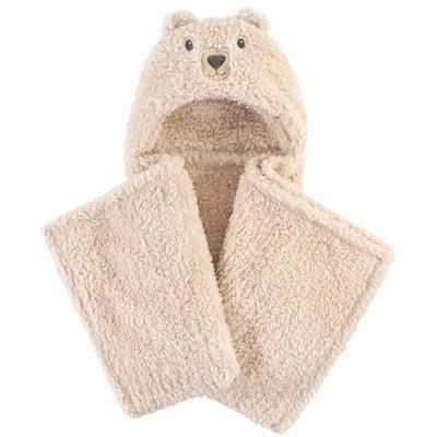 Hudson Baby Infant Hooded Animal Face Plush Blanket, Cozy Bear, One Size