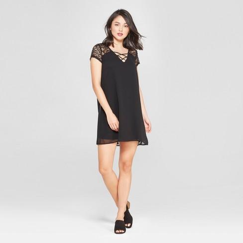 7b1014ee081 Women s Lace Yoke Shift Dress - Lily Star (Juniors ) Black M   Target