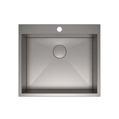 Kraus Pax Zero Radius 25 Inch Single Bowl Stainless Steel Drop In Kitchen  Sink
