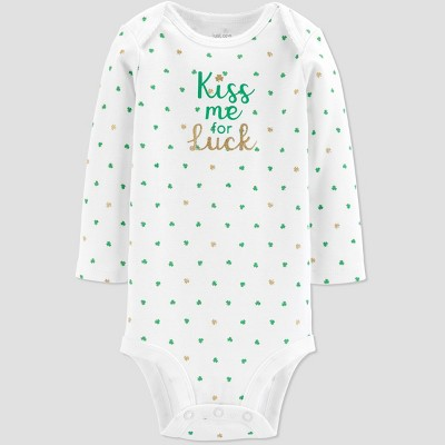 Baby Girls' St. Patricks Day Kiss Me Rib Bodysuit - Just One You® made by carter's White 3M
