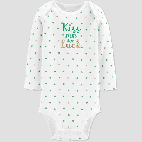 c24b24e93788 Baby Girls  St. Patricks Day Kiss Me Rib Bodysuit - Just One You® made by  carter s White