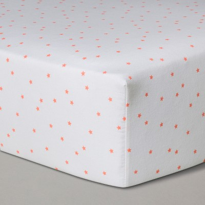 Crib Fitted Sheet Moxie Peach Stars - Cloud Island™ White