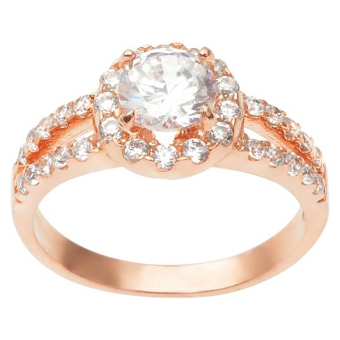 1 4/5 CT. T.W. Round Cut CZ Pave Set Split Band Halo Ring in Sterling Silver - RoseGold - image 1 of 2