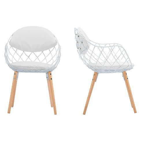 Siatka Contemporary Metal & Leather Dining Chair - White (Set Of 2) - Baxton Studio - image 1 of 4