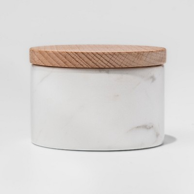 Marble Salt Box with Beechwood Lid White - Threshold™