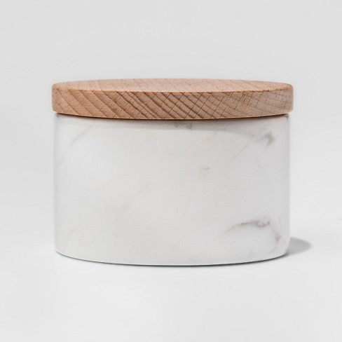 Marble Salt Box with Beechwood Lid White - Threshold™ - image 1 of 2