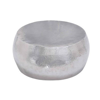 Contemporary Silver Drum Coffee Table Silver - Olivia & May