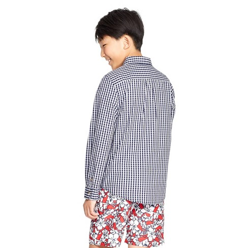 0552272d Boys' Woven Gingham Long Sleeve Button-Down Shirt - Navy/White - Vineyard  Vines® For Target : Target
