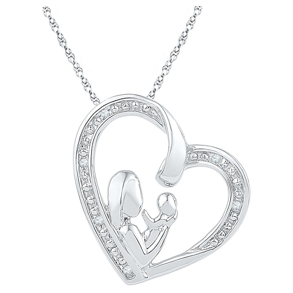 Diamond Accent Round White Diamond Prong Set Mom & Child in Heart Pendant in Sterling Silver, Girl's