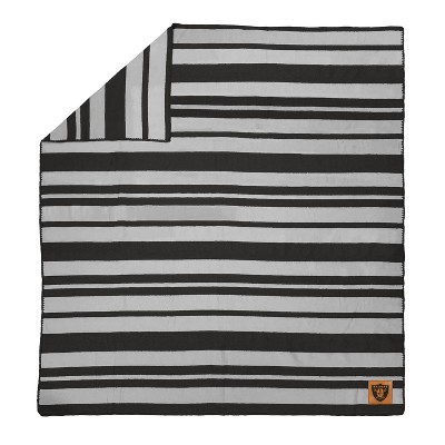 NFL Las Vegas Raiders Acrylic Stripe Blanket with Faux Leather Logo Patch