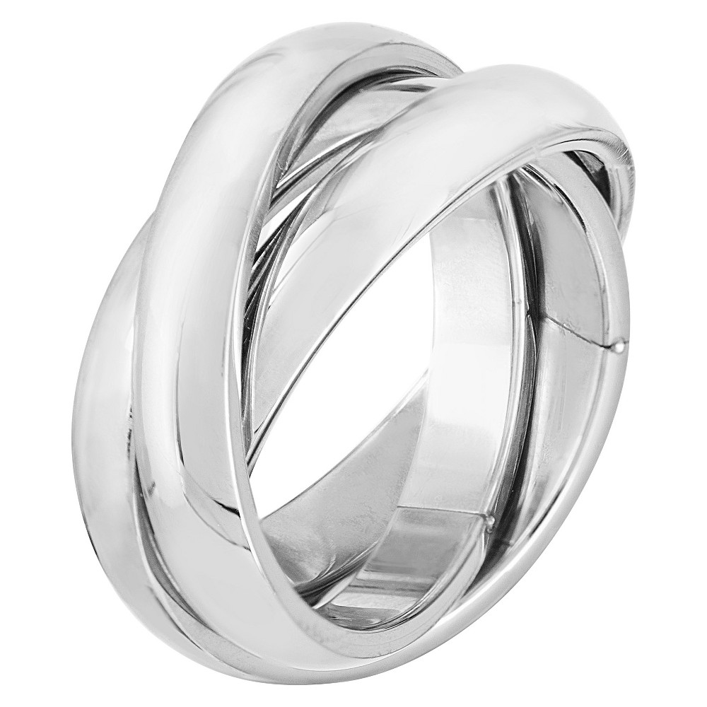 Stainless Steel Triple Roll Links Ring, Girl's, Size: 8, Silver