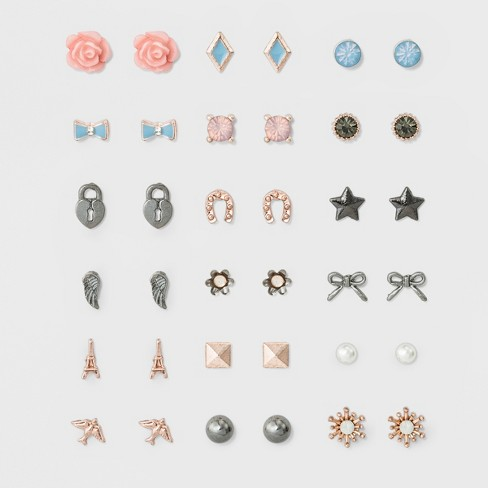 Women's Earring Set Eighteen Pack with Flowers, Birds, Bow, Eiffel tower and Star Post Back Earrings - Gold - image 1 of 2