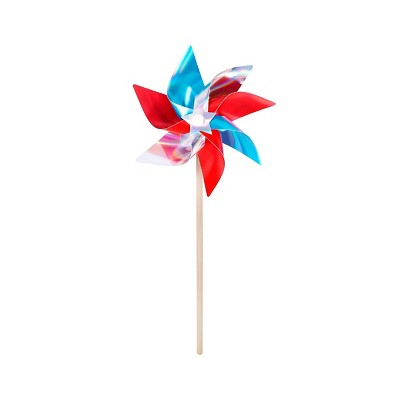 "20"" Pinwheel Foil Color Block Red Blue and Iridescent White - Sun Squad™"