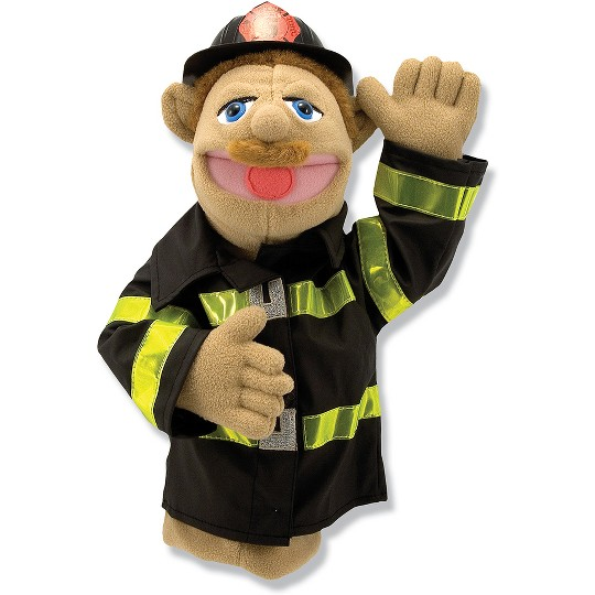 Melissa & Doug Firefighter Puppet With Detachable Wooden Rod image number null