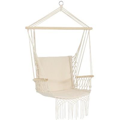 Polycotton Hammock Chair with Armrests - Natural -Sunnydaze Decor