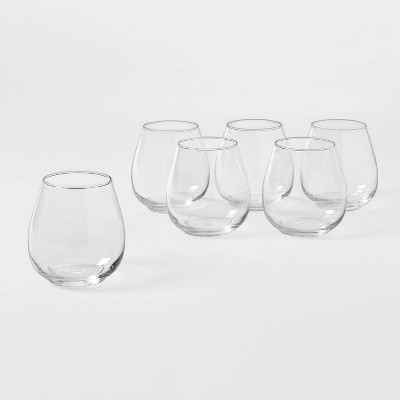 16oz 6pk Glass Stackable Stemless Wine Glasses - Made By Design™