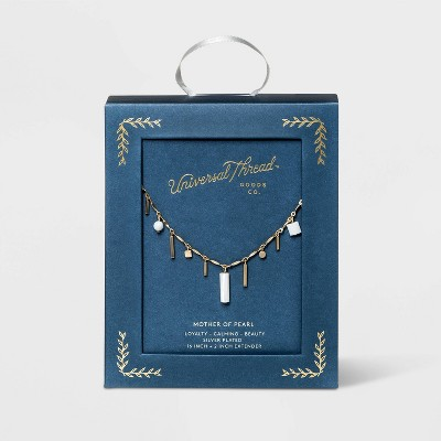 Semi-Precious Mother of Pearl Charm Station Necklace - Universal Thread™ Pearl