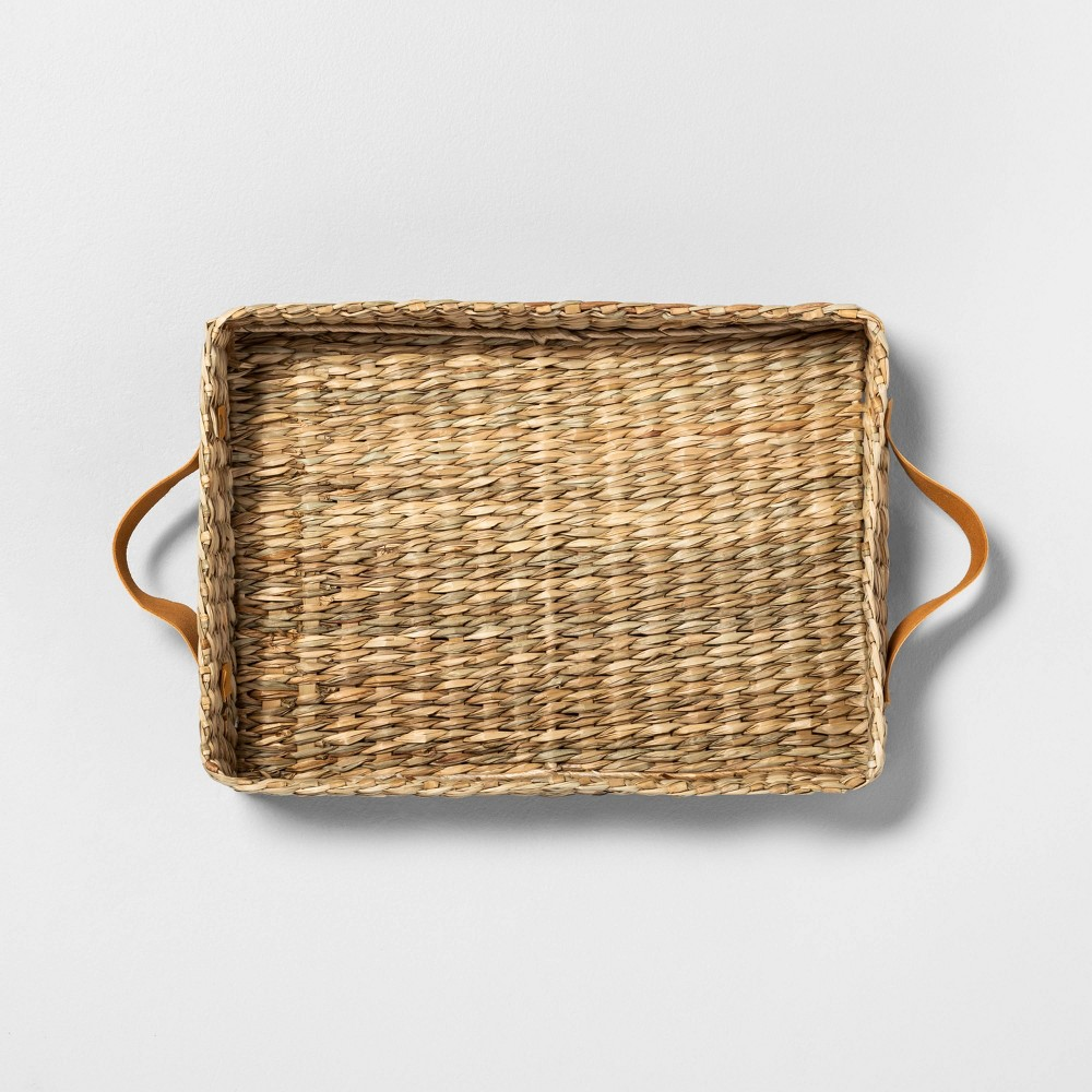 Image of Rectangle Woven Tray with Leather Handles - Hearth & Hand with Magnolia