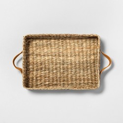 Rectangle Woven Tray with Leather Handles - Hearth & Hand™ with Magnolia